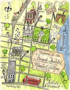 outline map of new orleans whimsical - Google Search