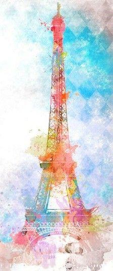 Paris watercolor of Eiffel Tower Deco Paris, Image Paris, Lapin Art, Paris Vintage, I Love Paris, Anime Comics, Belle Photo, Oeuvre D'art, Painting & Drawing