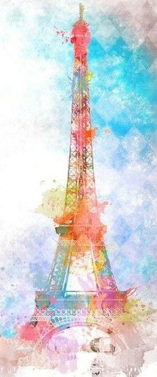 Paris watercolor of Eiffel Tower