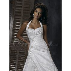 A-line Halter Sweetheart Sleeveless Chapel Taffeta Wedding Dress