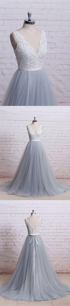 A-line prom dresses,V-neck Floor Length Tulle Evening Dress Prom Dresses