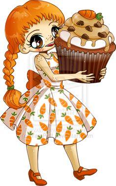 Carrot Cupcake Girl by YamPuff.deviantart.com