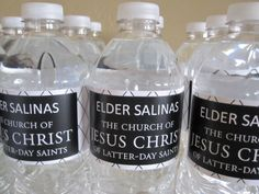 Cute idea for water bottles for your missionary farewell. RESULT: we had some labels printed on a laser printer--the label didn't run when it was wet. It did wrinkle though. Everybody loved it, especially because we found a Spanish tag for my cousin who is going to Chile.