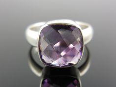 Amethyst Quartz Sterling Silver Ring - Size 7