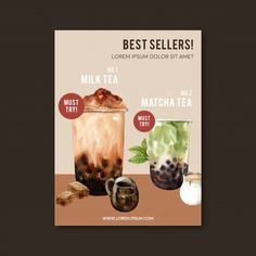 Matcha and brown sugar bubble milk tea s... | Free Vector #Freepik #freevector #flyer #poster #watercolor #food Coffee Logo, Coffee Poster, Bubble Milk Tea, Food Poster Design, White Coffee Cups, Watercolor Illustration, Watercolor Food, Vintage Logo Design, Poster Ads