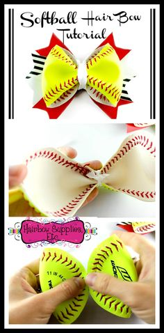 Hair Bow How to Make a Softball Hair Bow - with a REAL Softball - Softball hair bow instructions - hair bow tutorial – Hairbow Supplies, Etc.BOW BOW as an acronym may refer to: . Easy Hair Bows, Unique Hair Bows, Making Hair Bows, Bow Making, Hair Bows For Girls, Big Hair Bows, Softball Crafts, Softball Bows, Cheer Bows