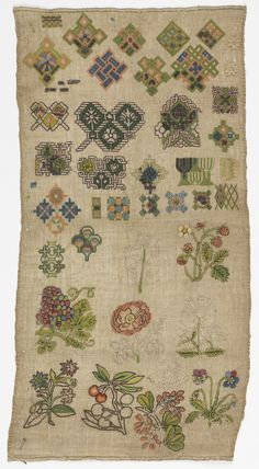 English Sampler ~ 1601-50 ~ silk, linen and metal-wrapped silk embroidery, linen foundation ~ tent, back, rococo, romanian, half-cross, long-armed cross, eyelet, satin, stem, chain, running, plaited braid and looping stitches on plain weave. Bequest of Mrs. Henry E. Coe ~ Cooper Hewitt Museum
