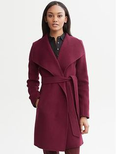 Belted wool wrap coat | Banana Republic