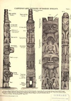 Carvings and designs of the Haidah Indians The Haidah Indians of the Queen Charlotte Islands James G. Swan, gentleman of Port Townsend, Wash. Washington: The Smithsonian Institution Press, 1874 Haida Kunst, Arte Haida, Haida Art, Totem Pole Art, Tiki Totem, Arte Tribal, Tribal Art, Native American Symbols, Native American Totem Poles