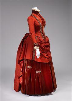 1887 Silk Dress, dark orange/red with chain design embroidered/trim, American
