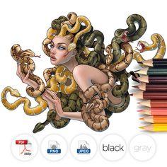 Adult Coloring Page Medusa image 0 Medusa Drawing, Medusa Art, Medusa Gorgon, Medusa Tattoo, Medusa Painting, Art Sketches, Art Drawings, Snake Art, Arte Sketchbook