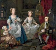Portrait des enfants Graham, avec une cage avec un oiseau, un chat et une serinette, 1742 William Hogarth