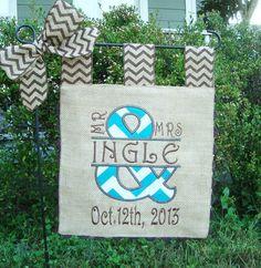 Etonnant Burlap Garden Flag   Custom Mr And Mrs  Wedding Day