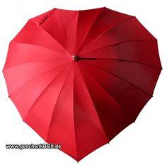 Regenschirm in Herzform mit Gravur - rot oder weiß