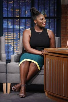 The beautiful Danielle Brooks was all smiles on the Seth Meyers talk show.