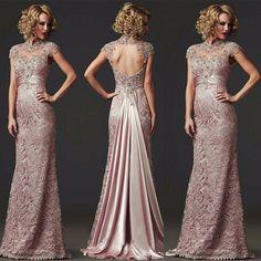 286ea1b33c Aliexpress.com   Buy long Mermaid Lace Evening Dress 2016 Formal Beaded  High Neck Open Back Sexy Mother Of The Bride Dress Vestido De Festa Longo  from ...