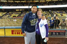 Matt Kemp and Nancy Bea Hefley... Pic via Jon SooHoo/LA Dodgers.    ***  Dodgers Blue Heaven: Blog Kiosk: 10/3/2015 - Dodger Links - McCarthy, Greinke and Matt Kemp