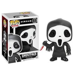 The masked villain from Wes Craven's horror movie series Scream has been incarnated as a Funko Pop! Vinyl figure. The Ghostface character with its signature mask and bloody knife first appeared in Scream (1996) as a disguise that was worn by Billy Loomis (Skeet Ulrich) and Stu Macher (Matthew Lillard) when they went on a killing spree in Woodsboro. It's about 3 3/4 inches tall and comes in a collectible window box. #nesteduniverse