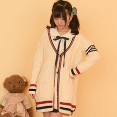 """Fashion students stripe sweater cardigan coat CuteKawaiiHarajukuFashionClothing&AccessoriesWebsite.SponsorshipReview&AffiliateProgramopening!Love the classy colors.i would wear these to school and everyone would be amazed , use this coupon code """"cute8"""" to get all 10% off shop now for lowest price"""