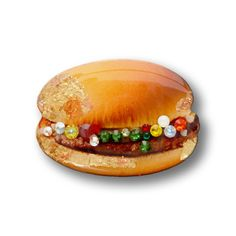HAMBURGUER Resin-Paper Brooch handmade in Italy