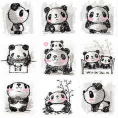 What adorable little kawaii panda sketches. So cute! I love all the different positions put together here. Check out the website to see more