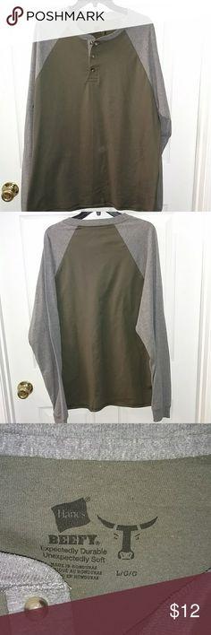 Nwot Hanes Beefy T Henley style baseball t-shirt. Very soft 100% cotton Hanes Shirts Tees - Long Sleeve