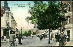Trondheim i Sør-Trøndelag fylke, OLAV TRYGVESSONSGADE. Fint kolorert kort i østenden  Utg H. Werner postgått 1912.