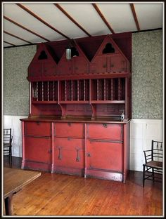Red House (a Grade I Listed Building), Bexleyheath ~ the Dining Room Dresser designed by Philip Webb