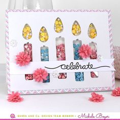 **Paper Smooches Blog Hop can be found HERE.** Hi everyone! Today I have two shaker cards to share, each using some of my favorite items from Queen & Company. On my first card I used Candles Shaker C
