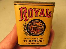 Vintage Old ROYAL LION Pure Ground Turmeric Spice Tin Can 2 oz. with Paper Label