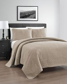 Zaria Quilted Coverlet Set With Stitched Pattern - 3 Pieces - Full/Queen, Khaki