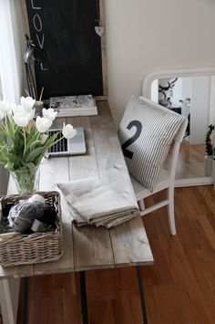 Suzie: Stylizimo Blog - Amazing office with wood plank desk, framed chalkboard, woven basket ...