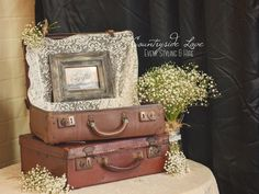 Countryside Love Event Styling & Hire www.facebook.com/countryside love Hawkesbury Wedding & Event Styling & Vintage Prop Hire Suitcase wishing well & gift table with lace & babies breath