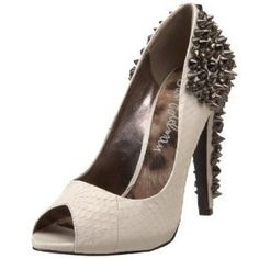3c336777e2cd Sam Edelman Lorissa peep toe spiked heels These studded heels are white  leather in an alligator skin print. The studs run up the heel - worn once  to prom ...