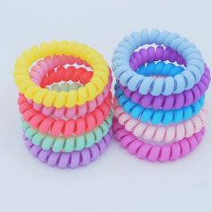 Coil Hair Ties, Hair Rubber Bands, Hair Tie Bracelet, Tie Crafts, Accesorios Casual, Bandana Hairstyles, Colorful Candy, Girls Hair Accessories, Cute Outfits For Kids