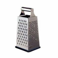 Stainless Steel 4-sided Grater, for Chesse, Carrots or Coleslaw - 9.5 Inch by Cuisinox. $13.07. Black rubber base. Great for Chesse, Carrots, Coleslaw & more.. 18/10 Stainless steel. 24 cm / 9.5 inches. This classic kitchen tool has been a staple of chefs for years. The four sided box grater is ideal for coarse or fine grating, shredding, even zesting. It's box design contains the ingredients until you're ready to use them. Made of durable stainless steel for long-lasti...