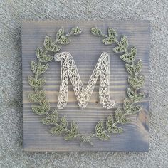 Custom string art laurel leaf monogram sign by Blossomingburlap on etsy - Diy Crafts Ideas Projects String Art Templates, String Art Patterns, Nail Patterns, Clothes Patterns, Dress Patterns, Cute Crafts, Crafts To Do, Arts And Crafts, String Art Diy