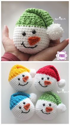 Click below link for free pattern… Crochet Cute Snowman – Free Pattern – Diy 4 Ever Crochet Snowman, Crochet Ornaments, Crochet Gifts, Cute Crochet, Crochet Beanie, Chrochet, Crochet Dolls, Crochet Christmas Decorations, Christmas Crafts