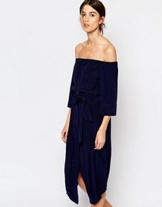 Whistles Flavia Bardot Silk Belted Midi Dress