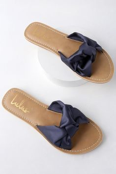 d990abeaf168 Style and comfort blend together effortlessly in the Lulus Makenzie Navy  Blue Satin Slide Sandals! Sleek satin shapes wide