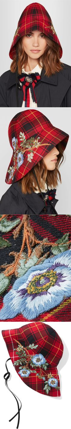 GUCCI Iris embroidered checked wool hat $1,150