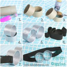 Diy goggles perfect craft for a party. Cut all the toilet paper rolls to size and spray paint before party. Make minion hair to go with it out of pip cleaner and a head band