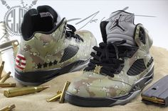 "Check out this Air Jordan 5 ""Desert Storm"" Custom by customizer El Cappy."