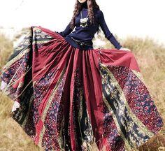 Jupes longues, jupe longue en coton imprime - rouge est une création orginale de cz828 sur DaWanda