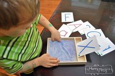 DIY Montessori Sand Writing Tray with Free Printable Letter Cards