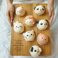 Steamed buns by Cat Bread, Bread Art, Steamed Cake, Steamed Buns, Cute Desserts, Delicious Desserts, Puff And Pie, Chocolate Dome, Macaron Template