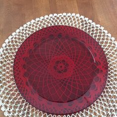 "Vintage Arcoroc France, Classique Ruby Red, Platter Charger Serving Plate, 13"" by BucketListGarnishes on Etsy"