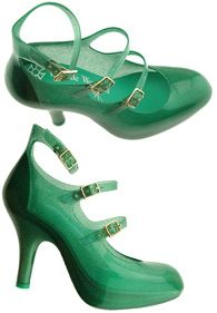 LOVE the green color of these strappy shoes by Vivienne Westwood - snatch them up at http://rstyle.me/iix3jq7e