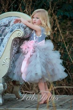 """Frosted Perfection"" tutu dress in gray with pink sash and brooch"