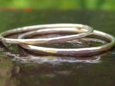 Handcrafted Stacking Rings Set of Two Feminine Gold Fill Bands by tinyshinyones, $21.00